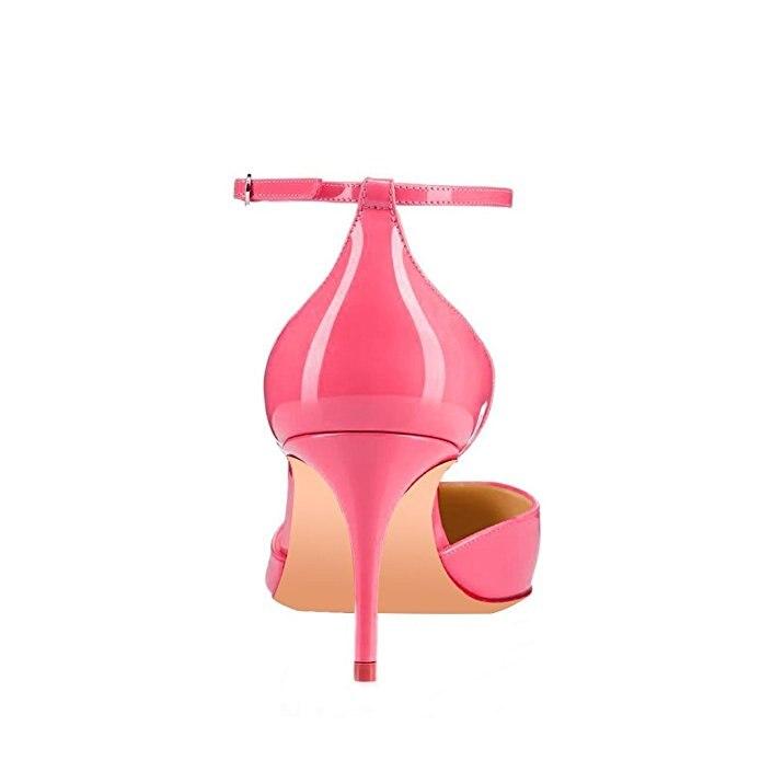 الأصلي نية أزياء النساء الصنادل جولة تو رقيقة الكعوب الصنادل أسود Fushcia العاج عارية الوردي أحذية امرأة زائد حجم 4  15-في كعب عالي من أحذية على  مجموعة 2