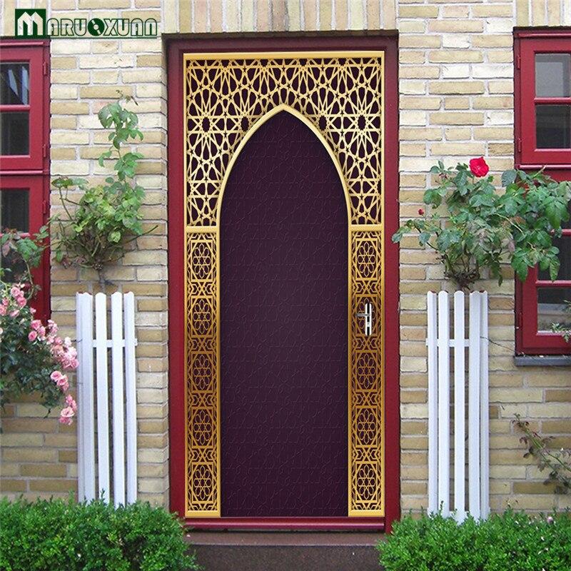 Maruoxuan 3D Door Stickers Arabic Style Creative Doors Home Stickers Bedroom Parlor Corridor Door Decoration Pvc & Maruoxuan 3D Door Stickers Arabic Style Creative Doors Home Stickers ...