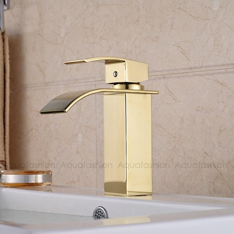 Robinet de salle de bain or cascade mitigeur robinet doré bassin de salle de bain robinet de bassin chaud et froid Chrome - 2