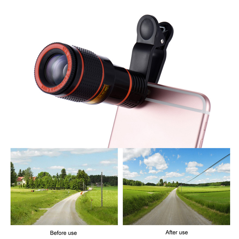 Universal 12X Zoom Mobile Phone Lens Clip on Telescope ...