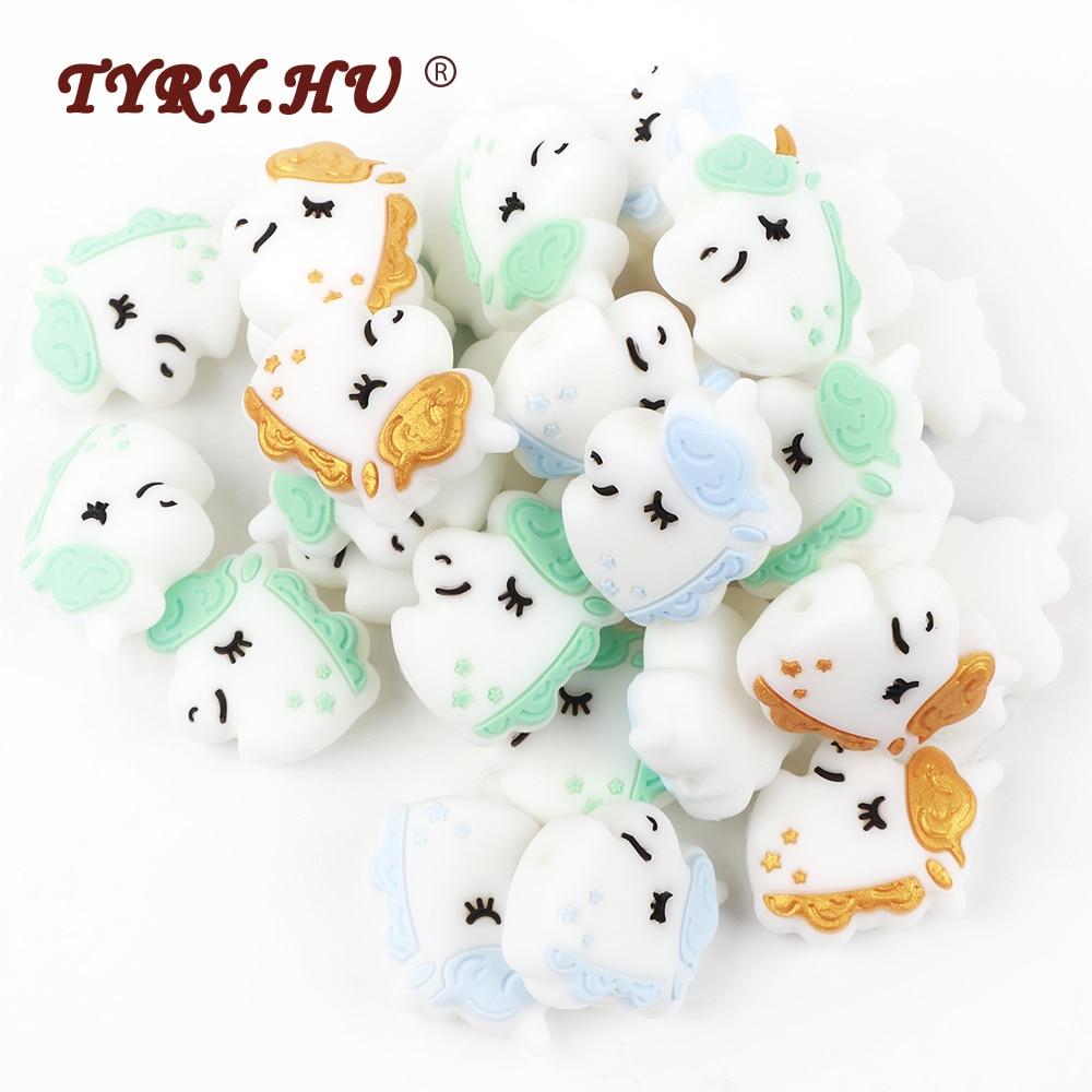 TYRY HU 50PC Unicorn Silicone Beads Baby Teething Mini Teether Toy BPA Free DIY Pacifier Chain