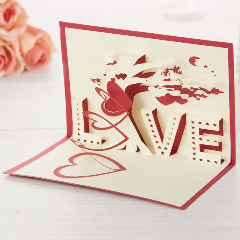 Hot 1pc 3D Laser Cut Carving Letter Love PostCard Greeting Card