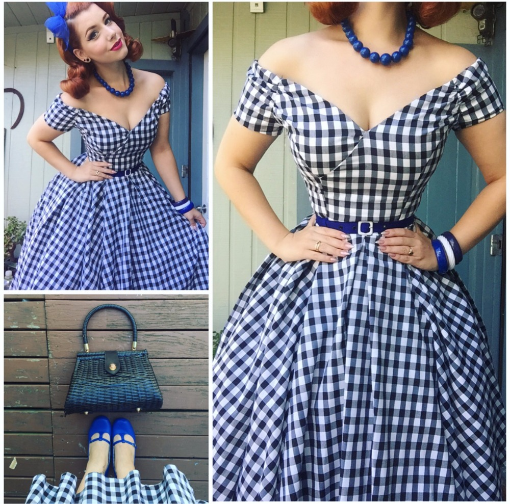 buy summer women vintage 50s black white gingham off shoulder swing midi dress. Black Bedroom Furniture Sets. Home Design Ideas