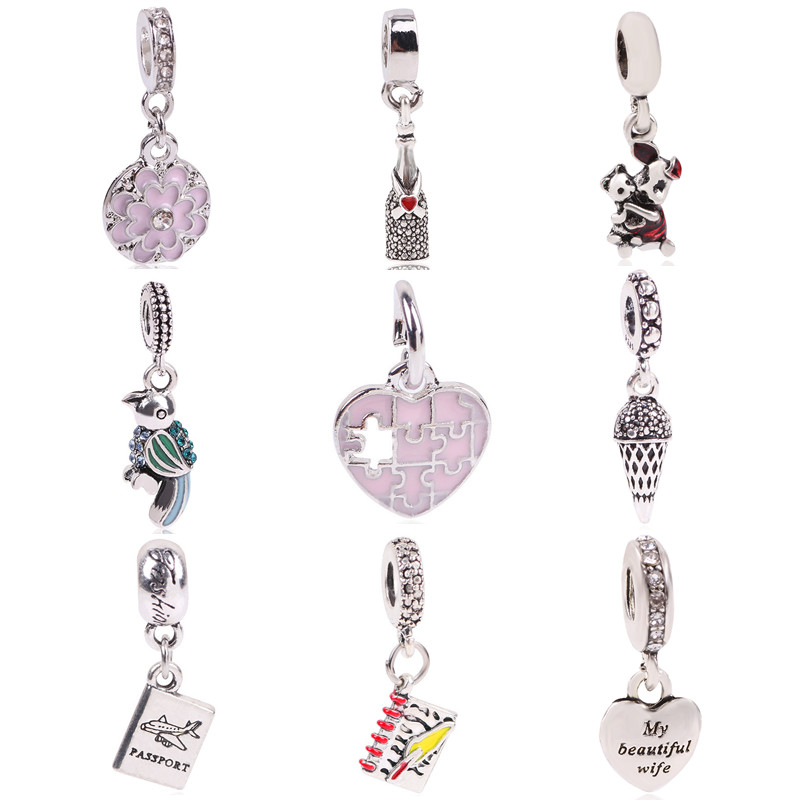 AIFEILI 1pc Silver Color Original European Bird Aircraft Love Pig Notebook beads For Pandora Charm Bracelets & Necklaces