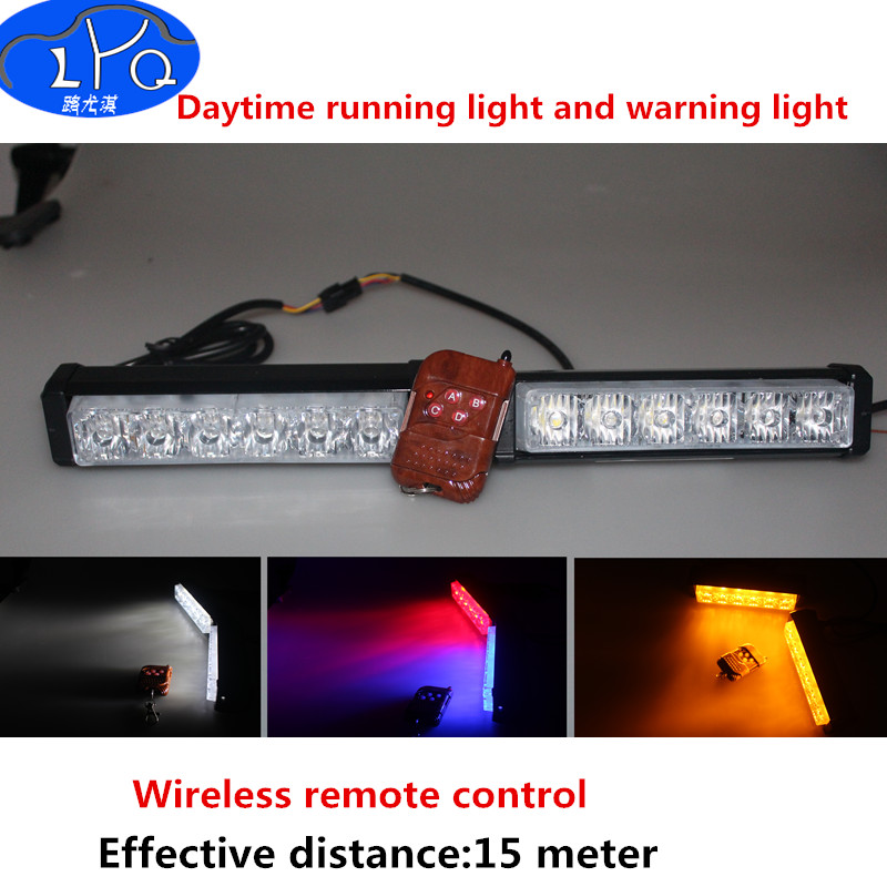 12W Flash Warning Light Bar Trailer Marker Daytime Running Lights Police Fireman Caution pilot Lamp wireless remote control