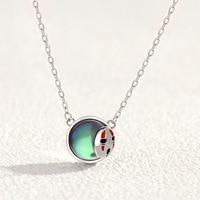 Spirited Away Pendant 925 Silver+Crystal No Face Kaonashi Necklace Miyazaki Hayao Anime Jewelry Women Gift Girl Birthday Gift