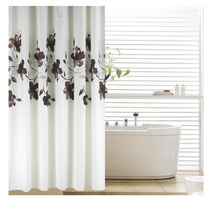 Brown And White Shower Curtain Hookless White Brown Polyester