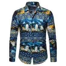 Mens Shirt Flower Long sleeves Casual Blouse Clothing Floral Shirts New Arrival Camisa masculina