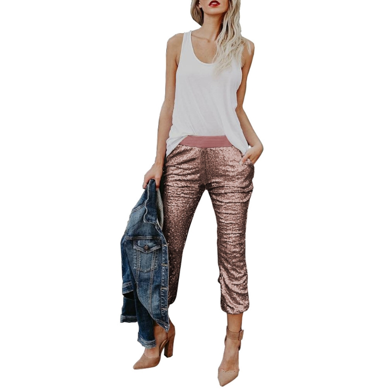 Women's Sexy Solid Sequin Drawstring Medium Waist   Pants   Joggers   Capris   Trousers