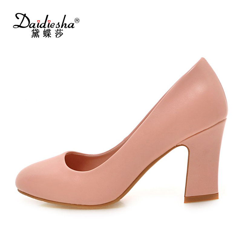 New Spring 2017  Women Working Pumps Classic Slip-on Square Heels Shoes High Quality PU OL's Round Toe Shallow Mouth Thick Heels 2017 shoes women med heels tassel slip on women pumps solid round toe high quality loafers preppy style lady casual shoes 17