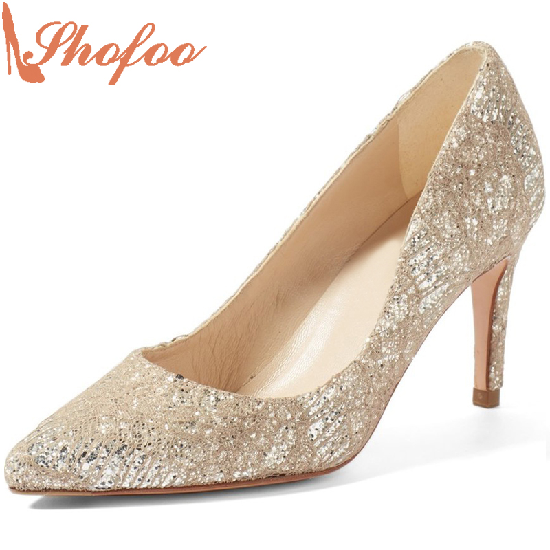 Shofoo New Gold Women Pointed Toe High Heels Pumps For Woman Dress&Career&Wedding Slip-on  Casual Shoes,Large Size  4-16.  shofoo newest women shoes med heels pointed toe pumps for woman dress