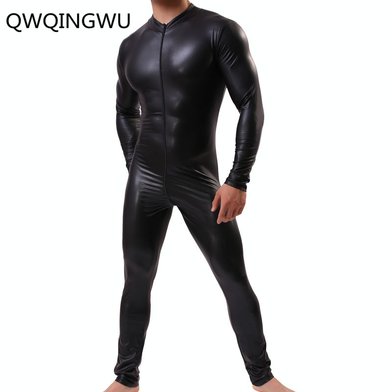 Sexy Men Shapers Wetlook Leather Latex Catsuit Long Sleeves Zipper Gay Men Full Body Leotard Lingerie Bodysuit Clubwear Shapers