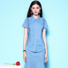 Womens shirt summer new stylish plus size blouse thin lace denim short sleeve womens NW18B2615