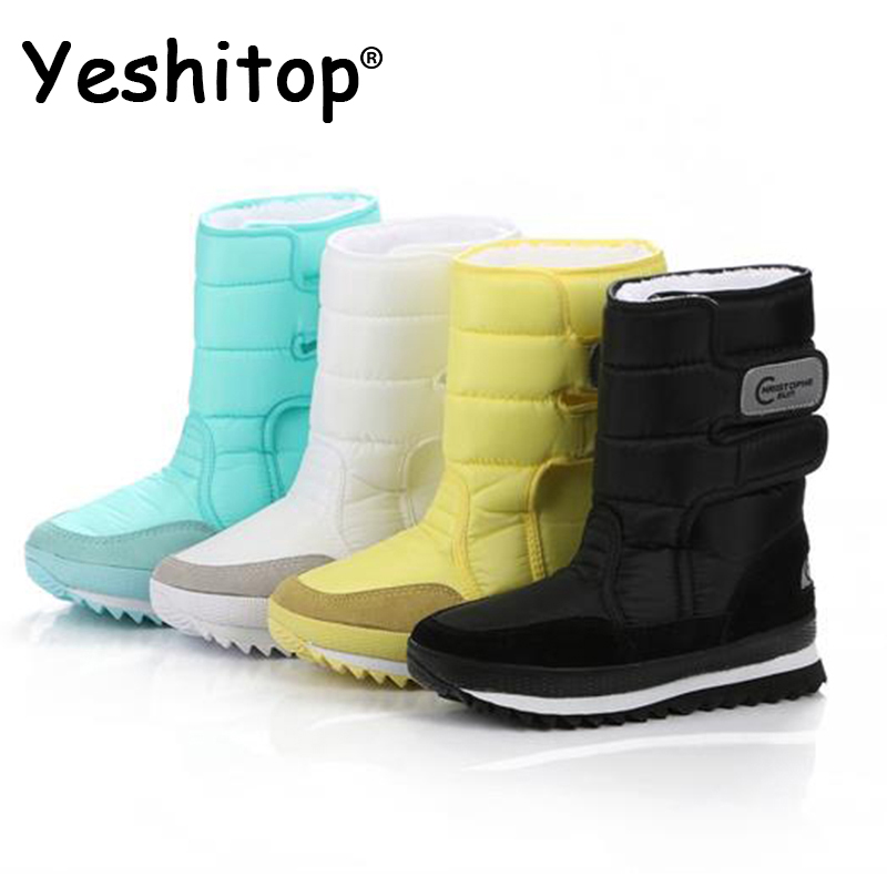 yeshitop Female Snow Boots Winter women flat waterproof