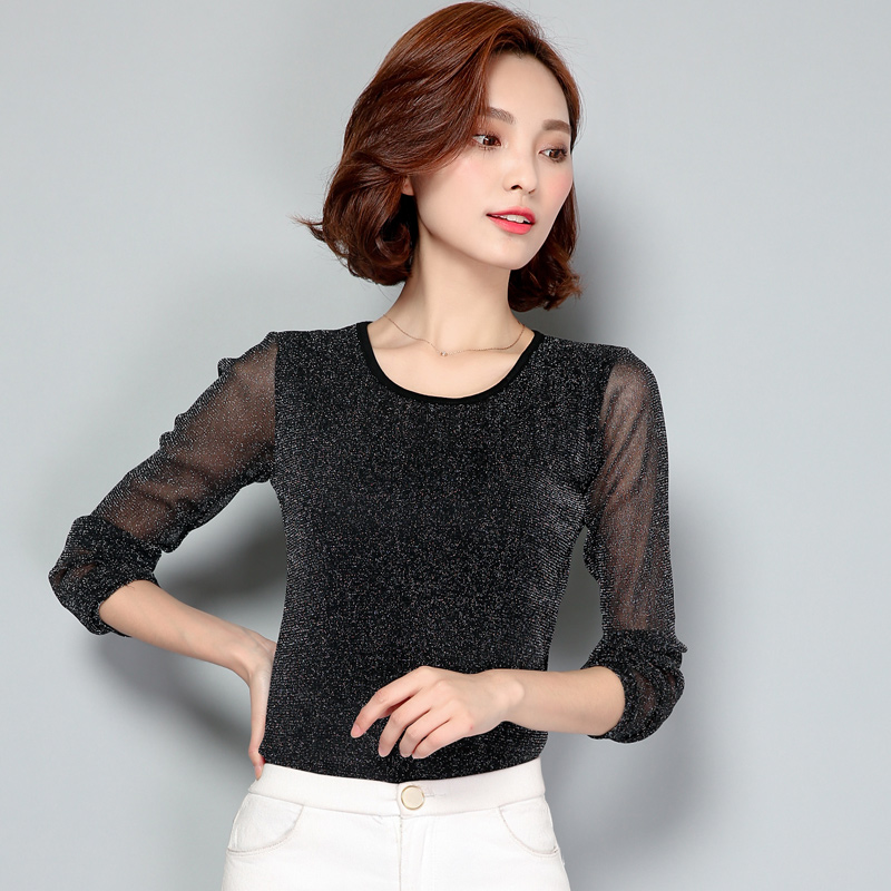 New 2017 Autumn Women blouses O-neck long-sleeved lace womens tops Fashion women shirts Black Casual chiffon Blusas 63C 50