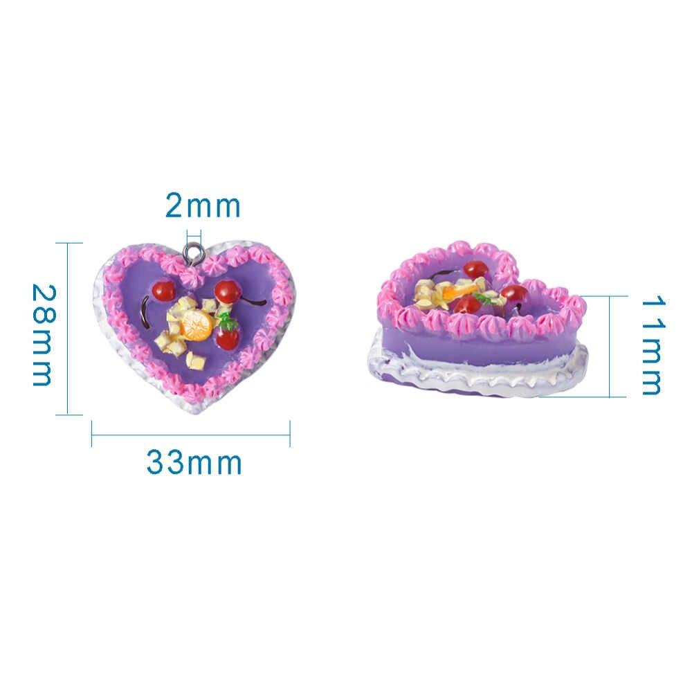 5 шт. 28x33x11 мм Мини пищевые Полимерные Подвески для торта, десертные подвески в форме сердца, микс для брелока, принадлежности для самостоятельного изготовления ювелирных украшений