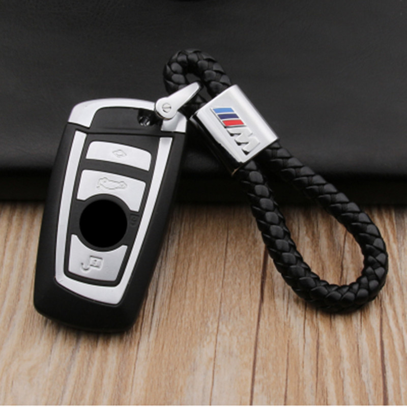 Car leather keychain keyrings holder 3D logo for BMW M logo VW Toyota key chain logo alloy key chain