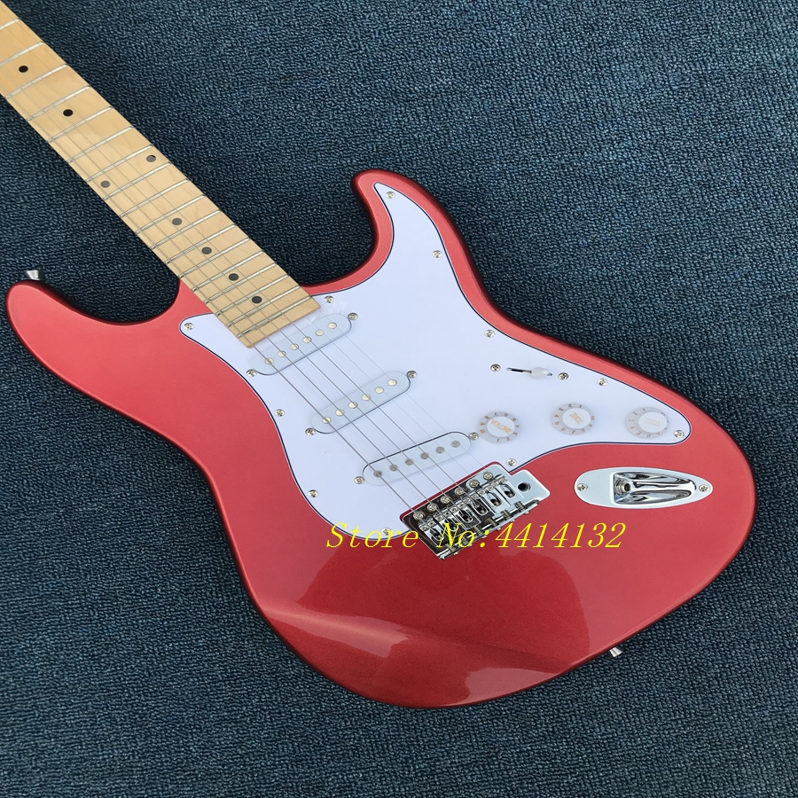 Free Shipping New Arrival Guitar F SSS Stratocaster Red White Pickguard 6 Strings natural Wood Electric Guitar