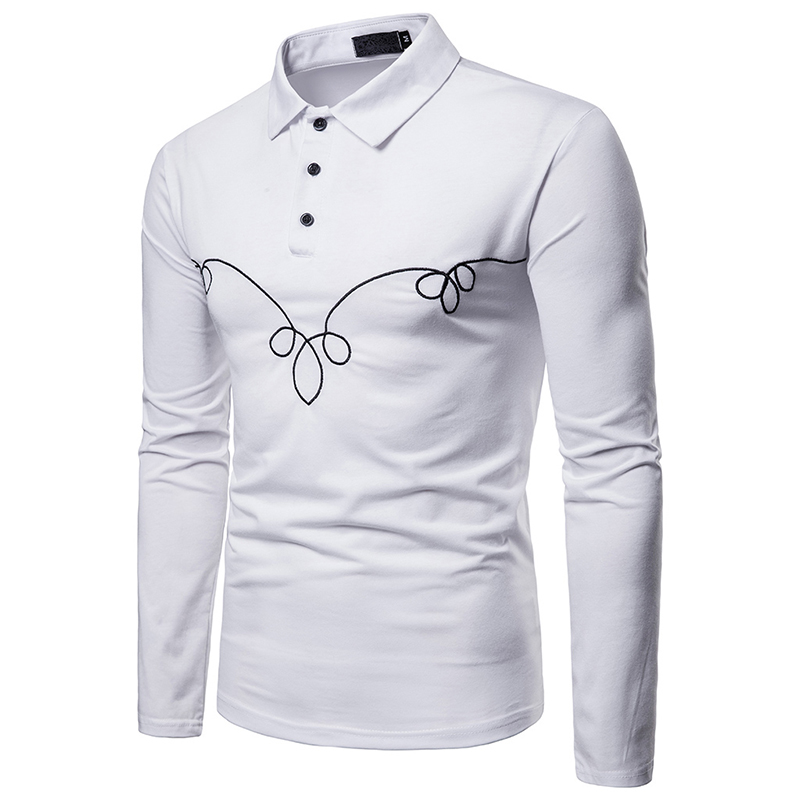 2019 Blume Mode Lässig Polo-shirt Drehen Unten Kragen Langarm Taste Slim Fit Top Kleidung Sozialen Polo Hohe Qualität