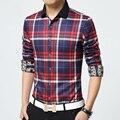 Plus Size 4XL Men's Flannel Plaid Shirts 2015 New Autumn Fashion Brand Men Clothes Slim Fit Men Long Sleeve Casual Men Shirt