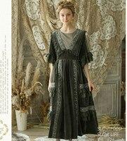 Магазин Джессики оригинальный дизайн осень для женщин Винтаж суд стиль ручной работы бисер вышивка кружево лоскутное длинные бархатные пл