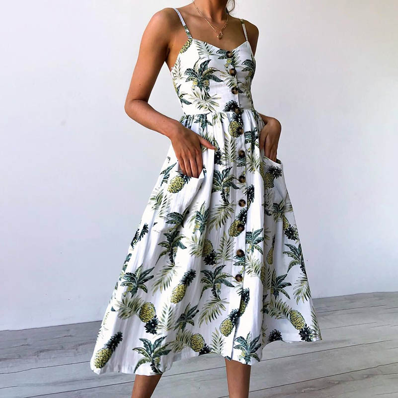 NiceMix Summer Dress Women 2019 Strap Floral Print Dot Long Beach Vestidos Female Sundress Sexy Casual Loose Elegant Ladies Dres
