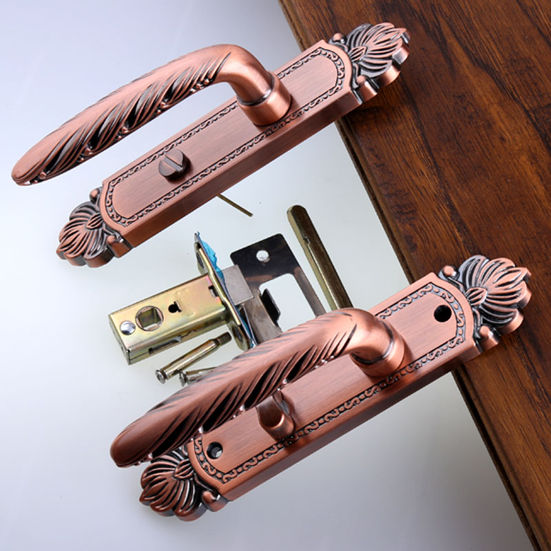 Bathroom door lock kitchen aisle solid wooden door single tongue handle lock without key 110mm antique copper antique brass lock right oven handle or industrial steam rice cooker handle with sector shape lock tongue