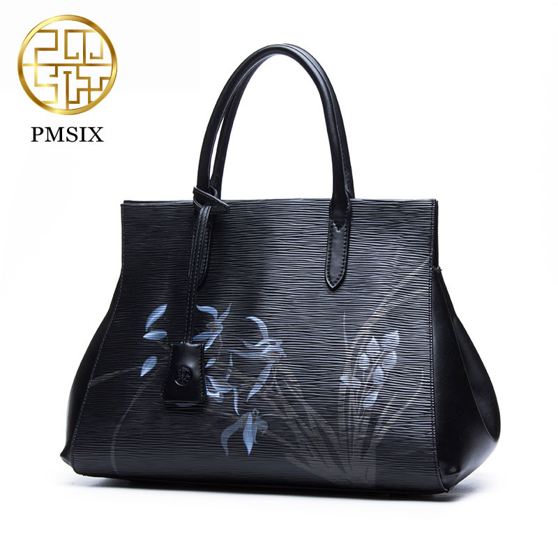 Pmsix Casual Tote Women Shoulder Bags Black Print flowers Leather Women Bags Designer Brand Female Handbag Hasp Fashion lady bag aosbos women shoulder bags multifunctional waterproof nylon handbag lady casual portable black tote bag female designer handbags