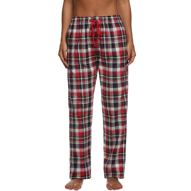A cuadros En Casa Pijama Pantalones del Salón de Las Mujeres Bottoms Sueño Femenino Encuadre de cuerpo entero Pantalones de Algodón Pijama ropa de Dormir Home Use Ropa Z2