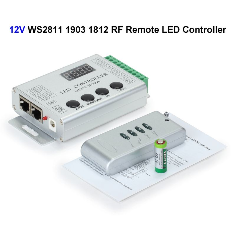 2ピース12ボルトhc008 ws2811 1903 1812 ledコントローラrfワイヤレスリモート制御用smd 5050マジック夢色rgb ledストリップ