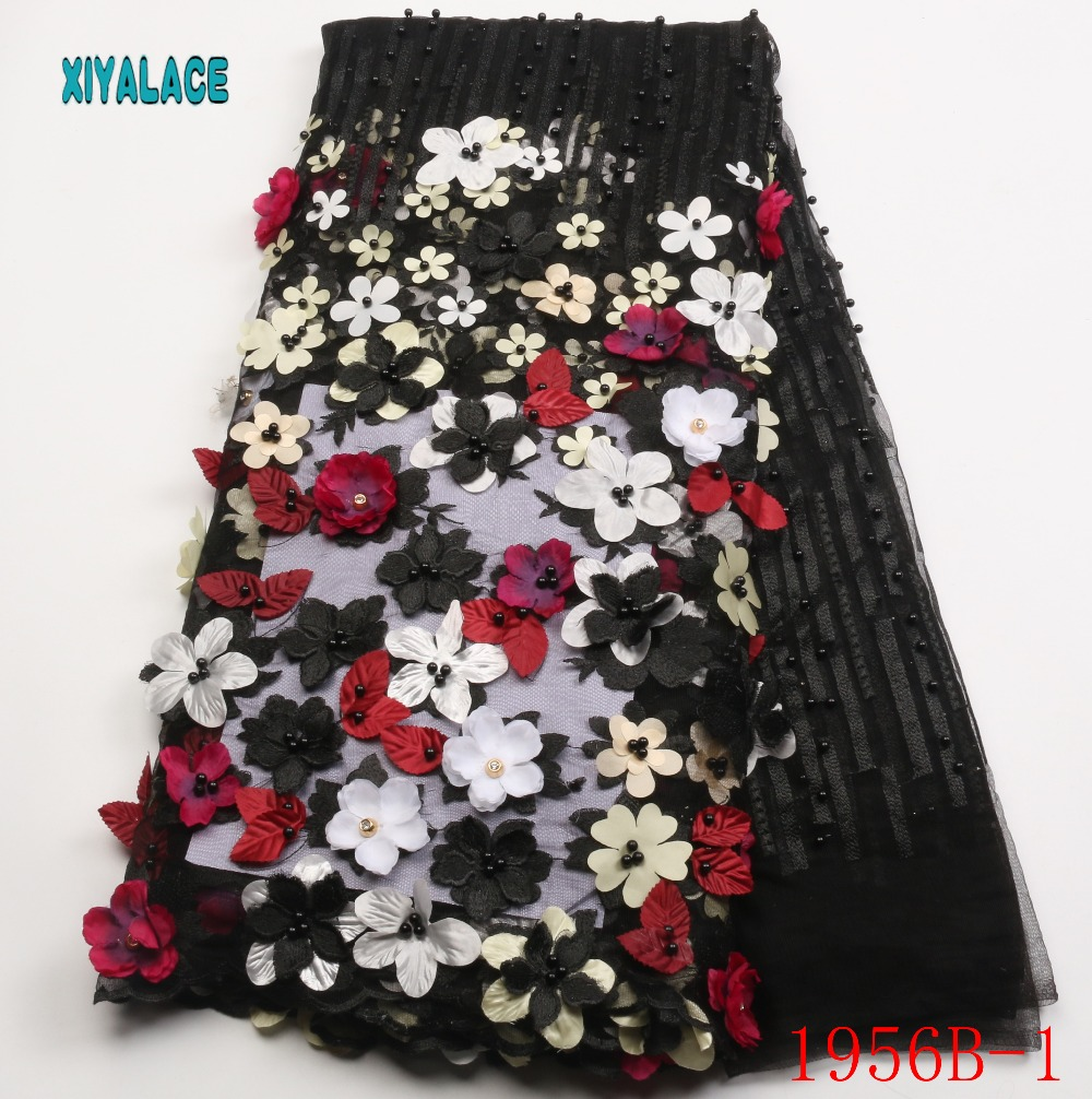 African Lace Fabric 2019 High Quality Lace 3d Flower Lace Fabric Embroidery lace trim 5yards For