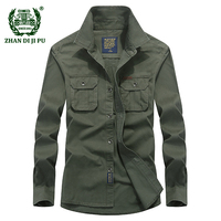 AFS JEEP Men S Spring Casual Brand Military 100 Cotton Khaki Long Sleeve Shirts Man Autumn