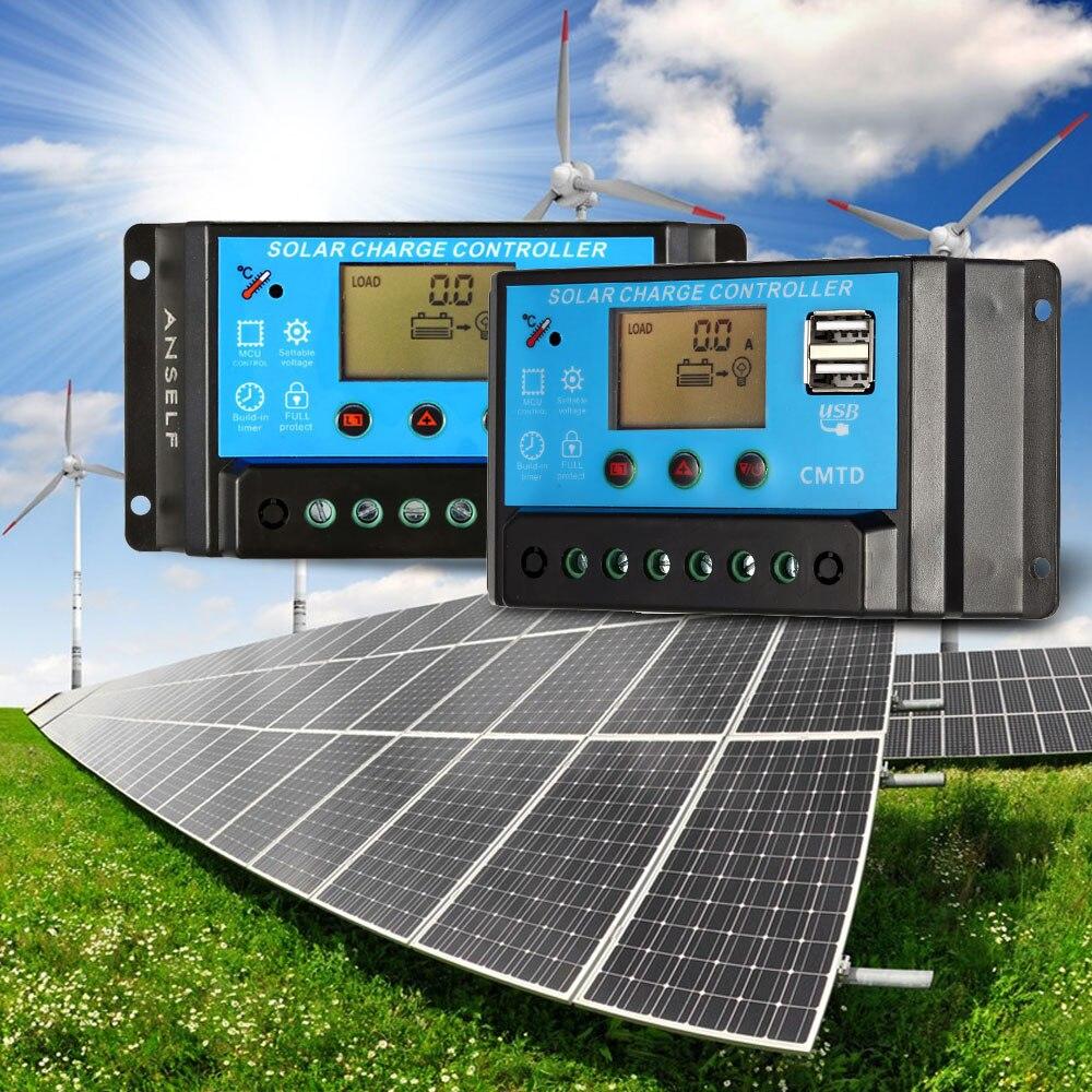 10A 12 В/24 В ЖК-дисплей Контроллер заряда автоматический регулятор для Панели солнечные Батарея ток лампы Дисплей Функция перегрузки защита