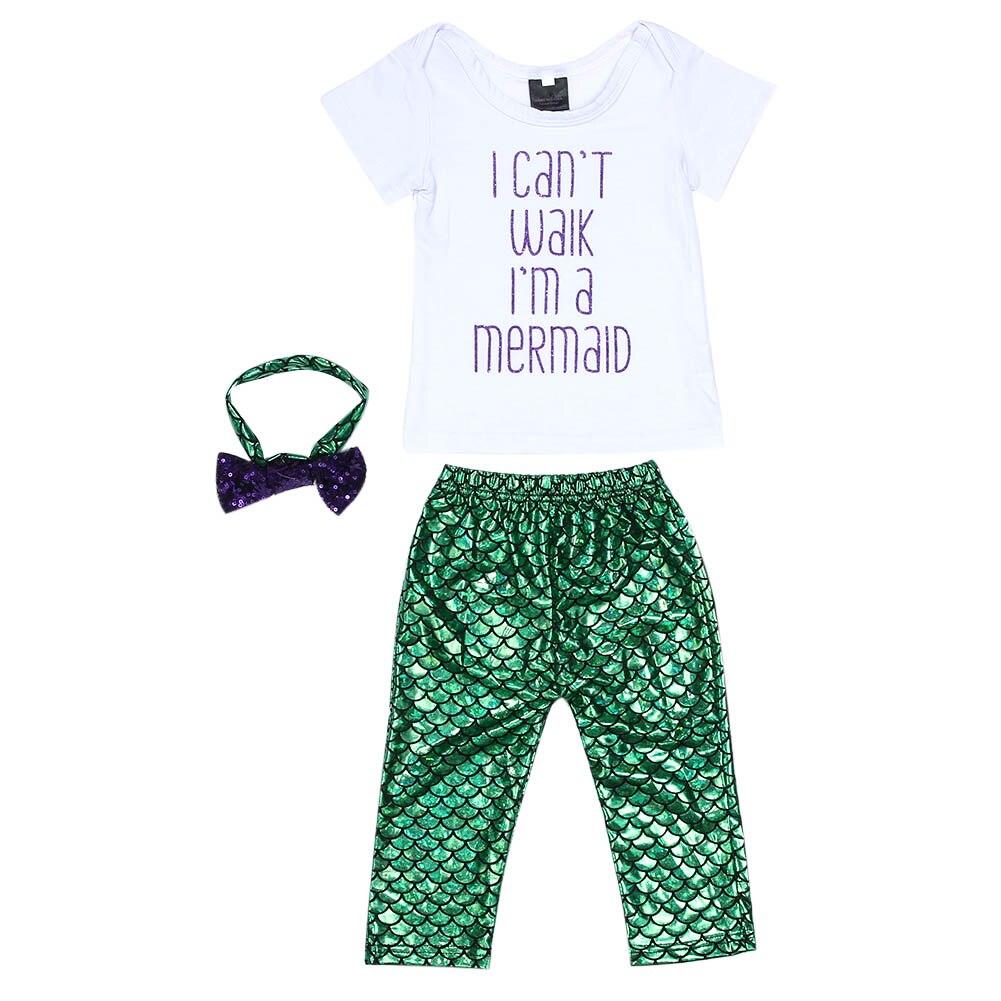 3pcs Baby Set Baby Girl Clothes Kids Clothing Set Letter Printed Tops T-shirt+Mermaid Leggings Shorts Pant+Headband Outfits Set