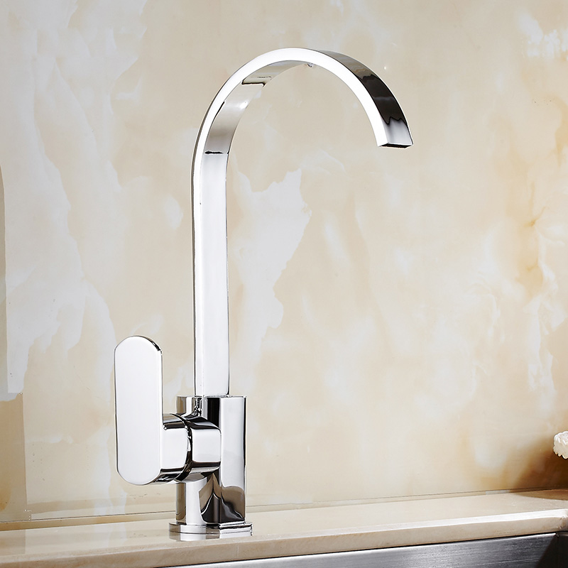 Direct Sale Chrome Brass Kitchen Faucet Cold Hot Water Kitchen Sink Faucet Square Shaped Swivel  Spout Kitchen Sink Water Mixer led spout swivel spout kitchen faucet vessel sink mixer tap chrome finish solid brass free shipping hot sale