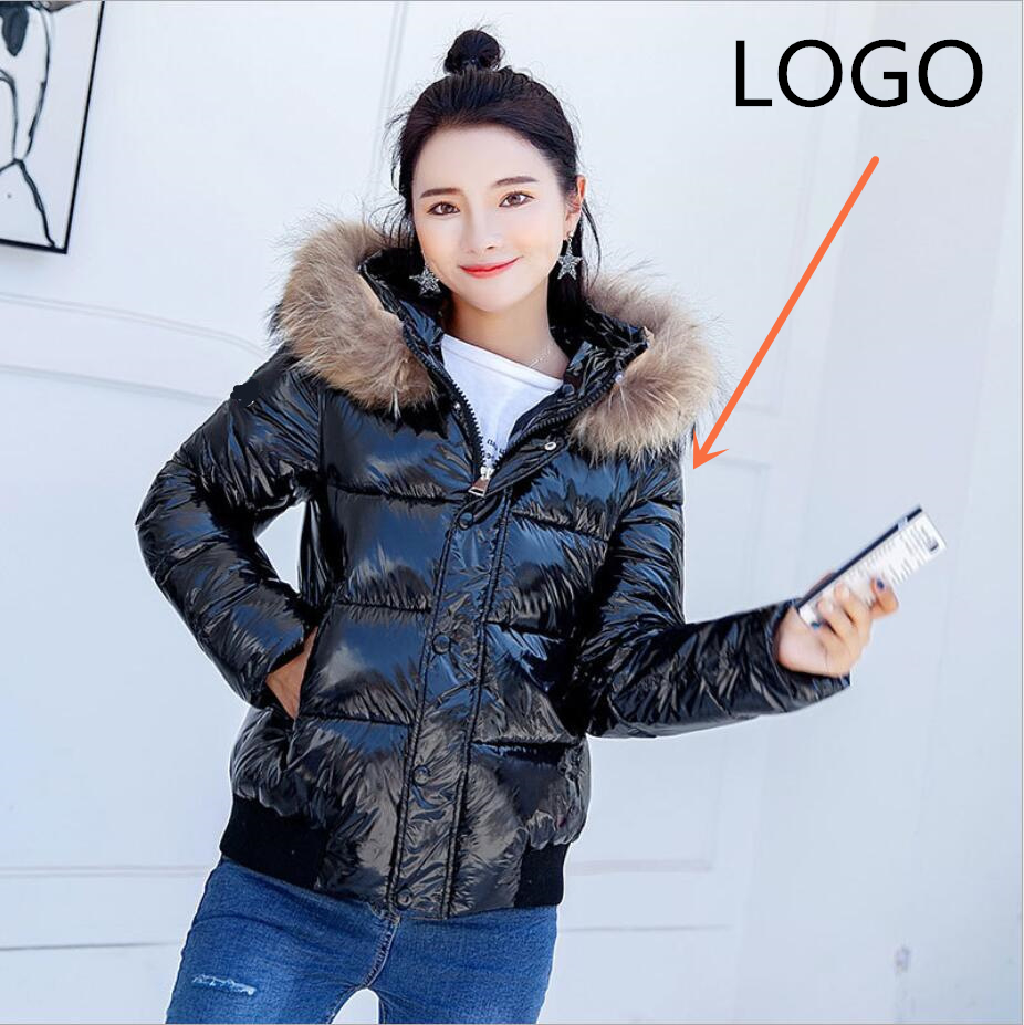 2019 new winter jacket female   Down   jacket jacket thickening bright fur collar short   coat   winter   coat   French brand
