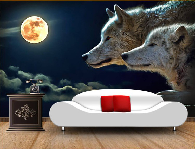 Large 3d Papel Murals Moonlight Wolves Animal 3d Wall mural Wallpaper for Living Room Sofa Background 3d Wall Photo Mural 3d papel parede forests trees bridge reflection scenery 3d wall paper mural 3d photo wallpaper 3d wall mural for sofa background