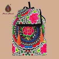 Vintage boho Étnico bordado mujeres de la Lona Mochila cubierta Cerrojo ocasional borla Mochila de viaje ventas En Línea Patrón satchelbags