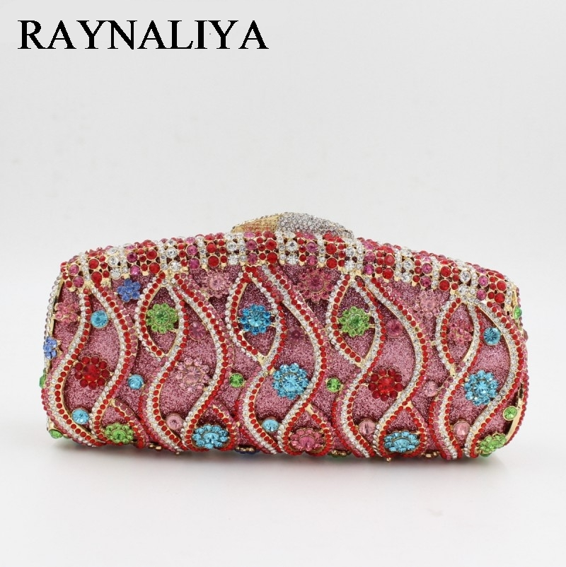 Luxury Evening Bag With Colourful Rhinestone Beautiful Flower Crystal Clutch Party Wedding Purses Gold Silver Blue ZH-B0052 women luxury rhinestone clutch evening handbag ladies crystal wedding purses dinner party bag bird flower purse zh a0296