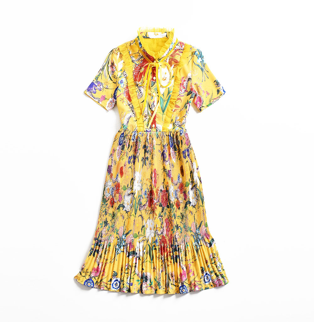 2018 Runway Dresses Summer Yellow Print Draped High Quality Short Sleeves Women's Dress Vestidos De Festa 4177