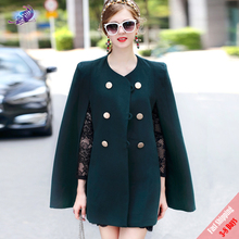 High Quality Fashion Casual Fall Winter Wool Cloak Coat New Women's Long Sleeve Double Breasted Cape Overcoat Outerwear Free DHL(China)