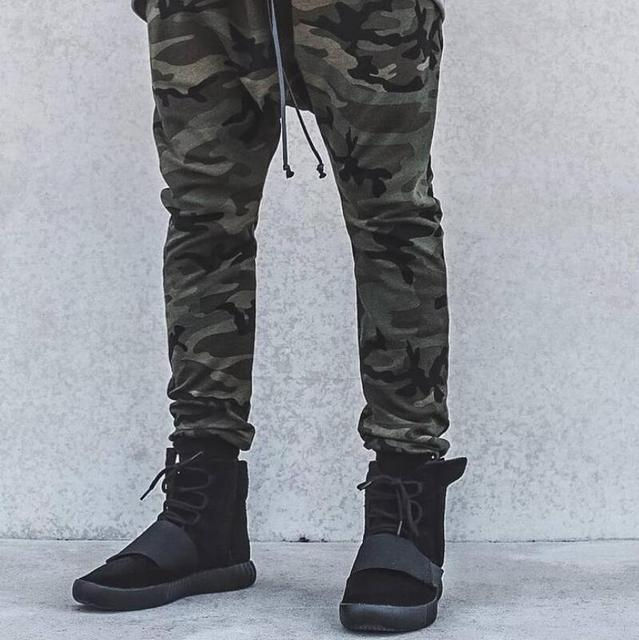 Camouflage Biker Joggers Military Style Kanye West Designer Camo Drop Crotch Pants Mens Thin Urban Streetwear Free Shipping
