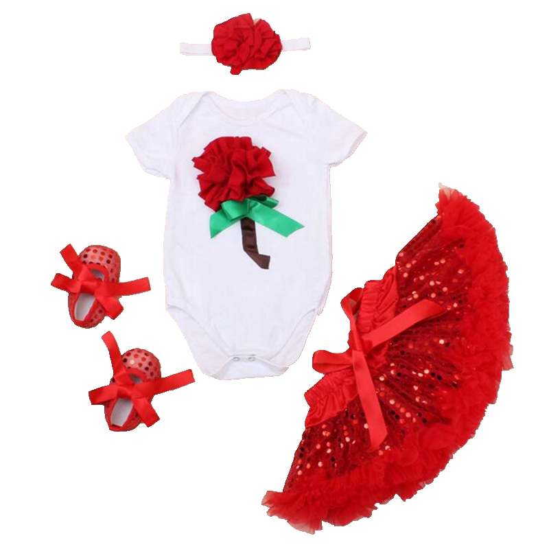 Red 3D Flower Birthday Valentine Toddler Outfits Baby Bodysuit Tutu Skirt Crib Shoes Headband Girls Clothing Sets Kids Clothes