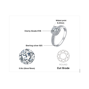 Image 5 - JewelryPalace 1ct CZ Halo Engagement Ring 925 Sterling Silver Rings for Women Anniversary Ring Wedding Rings Silver 925 Jewelry