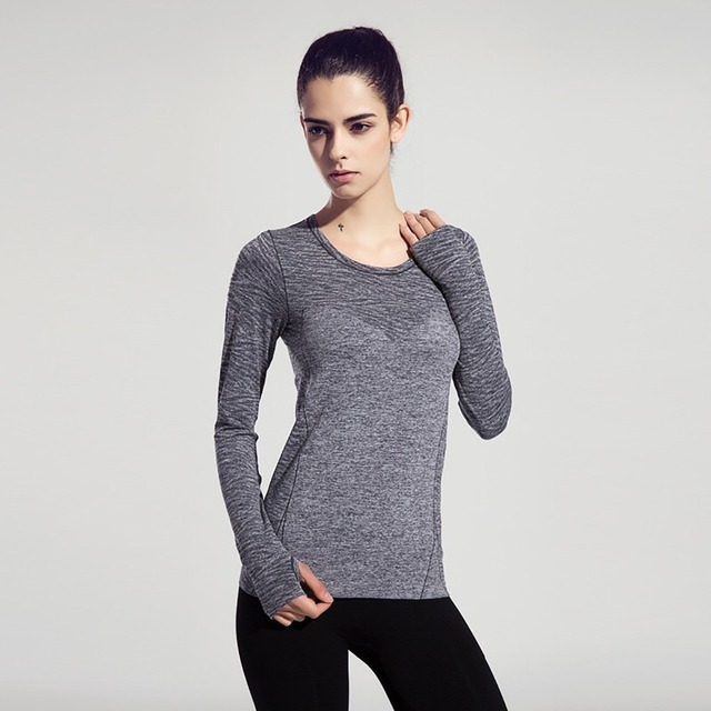 FLANDIS Casual Sport Top Fitness Women Shirt Long Sleeves Round Neck Running Gym Yoga Shirt Quick Dry