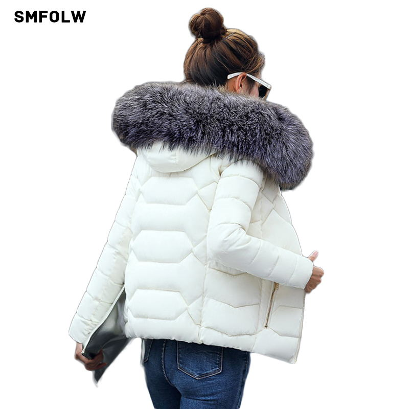Hot!2017 New Fashion Winter Jacket Women Fake Raccoon Fur Collar Winter Coat Women Parkas Warm Down Jacket Female outerwear 2017 winter new clothes to overcome the coat of women in the long reed rabbit hair fur fur coat fox raccoon fur collar