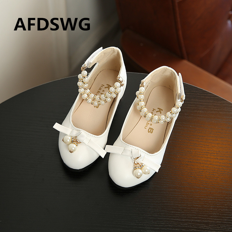 AFDSWG spring and autumn PU waterproof low-heeled pink bow red white shoes kids princess-shoes red shoes for girls