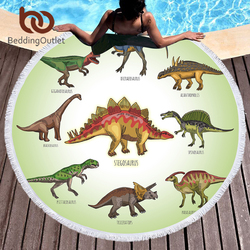 BeddingOutlet Dinosaur Round Beach Towel for kids Microfiber Large Summer Towel Toalla Cartoon 150cm Jurassic Printed Picnic Mat