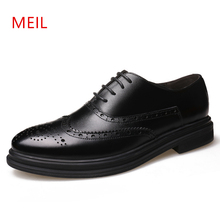 Bullock Carved Men Pointed Toe Brogue Shoes Lace Up Casual Dress Shoes Fashion Oxford Leisure Genuine Leather Shoes Men Formal women genuine leather flats brogue oxford white black platform shoes lace up pointed toe ladies casual shoes zapatos mujer