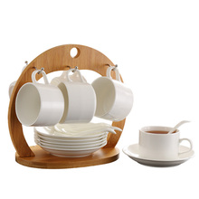 Factory Price 6pcs/Lot European Style Milk Tea Mug Ceramic Coffee Cup Set with Saucer Spoon Bamboo Shelf - White + Burlywood Hot